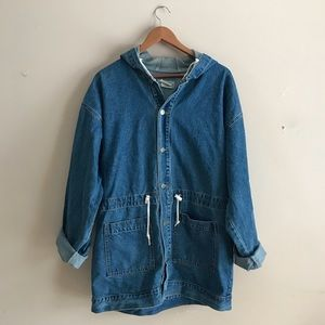Vintage Denim Utility Jacket Long Length with Hood
